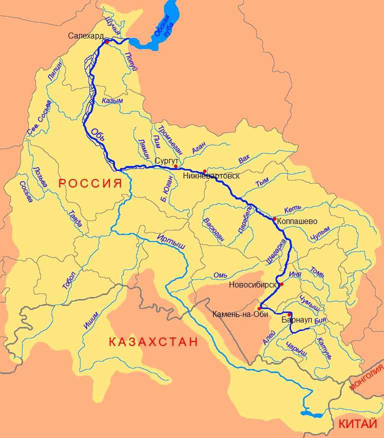Река Енисей на карте России. Где находится исток, устье, фото, описание, длина, глубина, направление течения с городами, протяженность, куда впадает